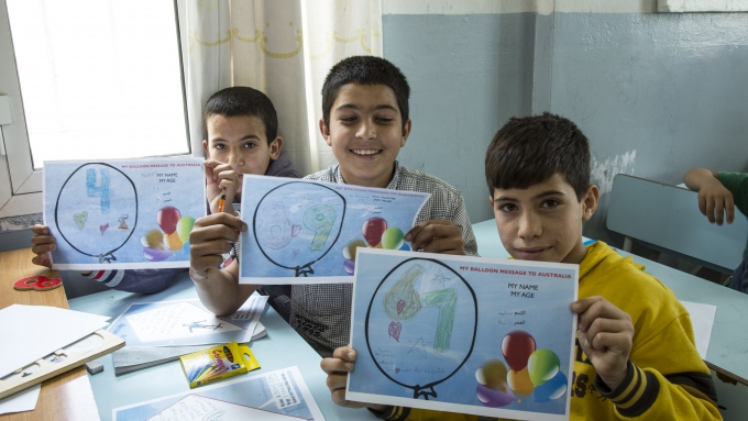 Syrian children replied to their pen pals in Australia